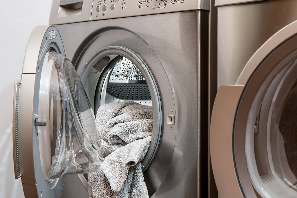 Бельё в стиральной машине