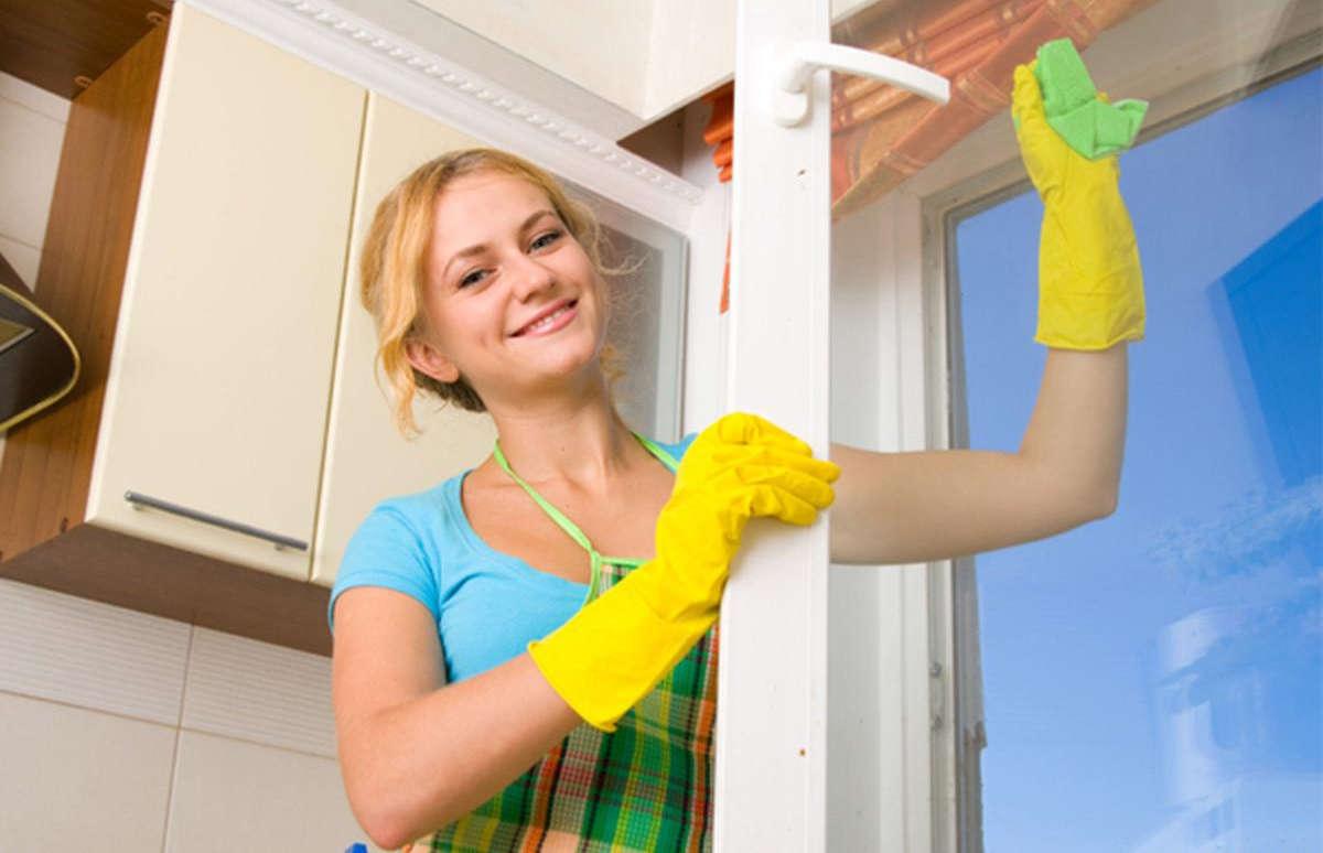 Хозяйка чистит окно