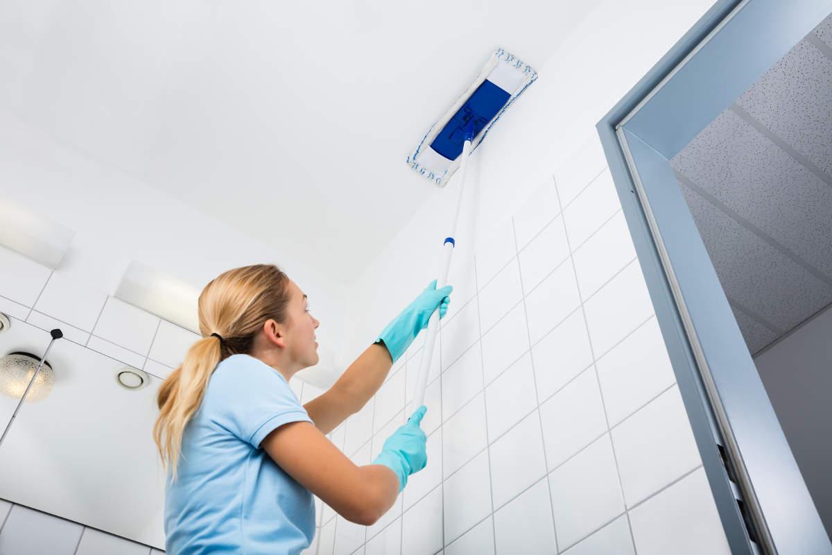 Хозяйка моет потолок
