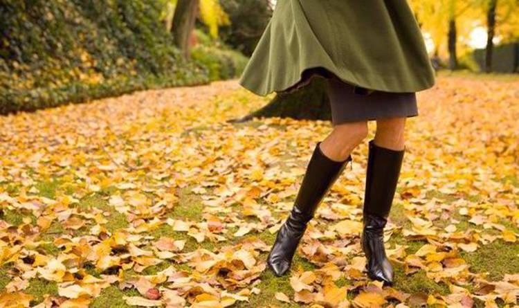 Женщина танцует на жёлтых листьях