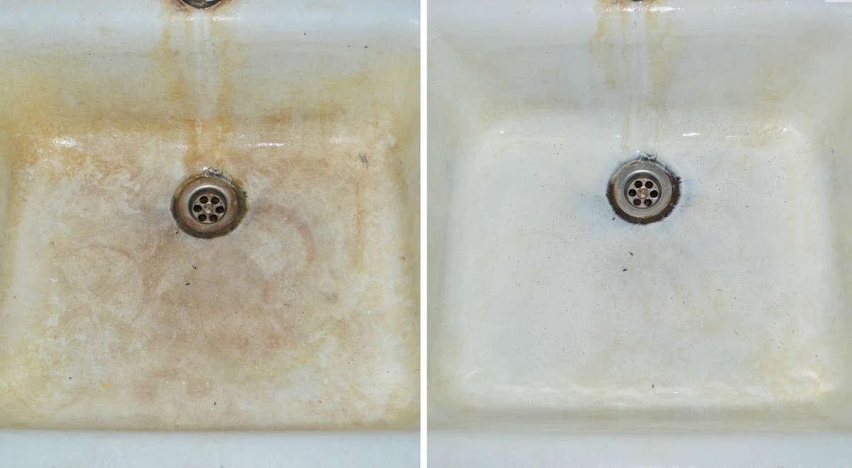 Раковина до и после чистки