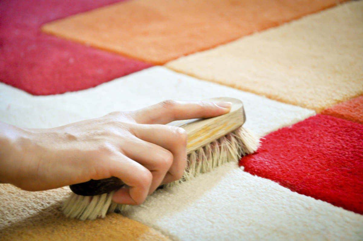 Чистит ковёр щёткой