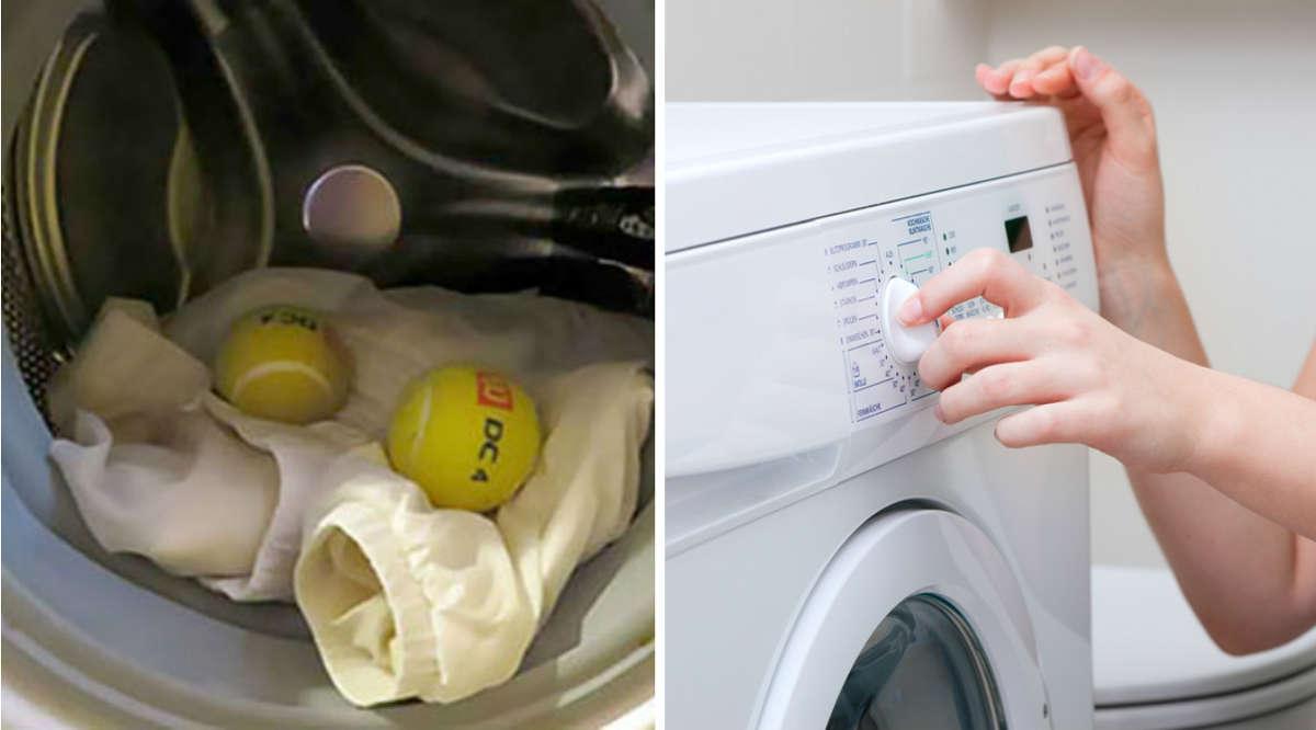 Куртка и мячики в стиральной машине