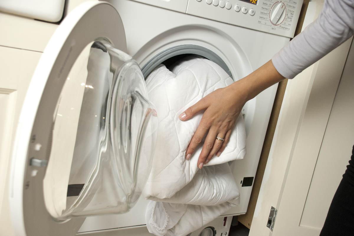 Постельное бельё в стиральной машине